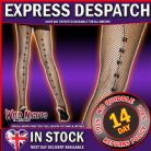 FANCY DRESS ACCESSORIES # BLACK FISHNET TIGHTS - BLACK SATIN BOWS UP BACK SEAM